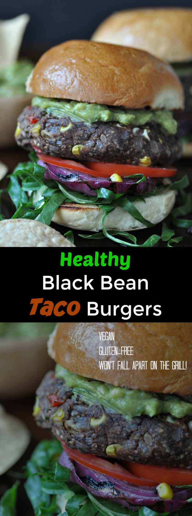 A Pinterest pin for black bean tacos with 2 pictures of the burgers.