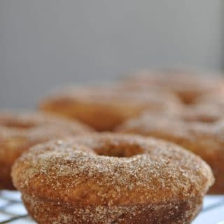 Baked apple cider doughnuts that are vegan! Made with aquafaba and so delicious!