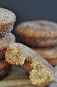 Sweet vegan baked apple cider doughnuts! Make them for breakfast or for a fall dessert.