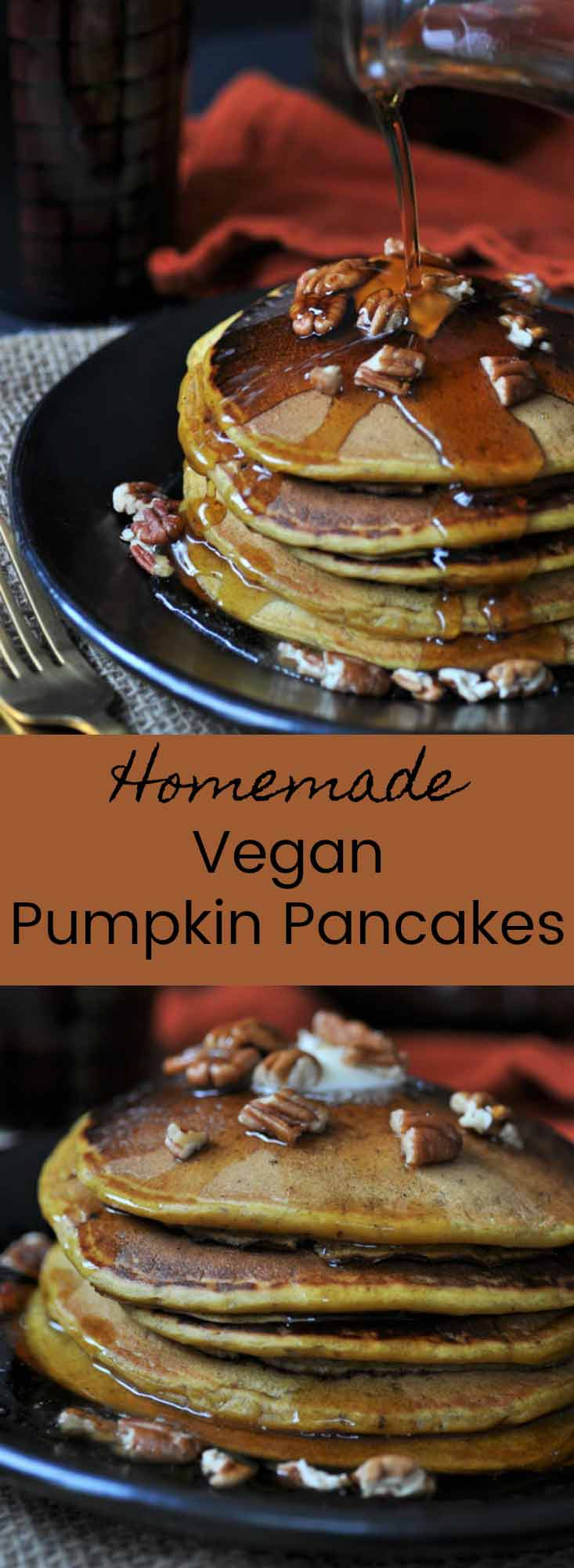 Vegan Pumpkin Pancakes! The perfect fall breakfast. Sprinkle with pecans and serve for your holiday meal.