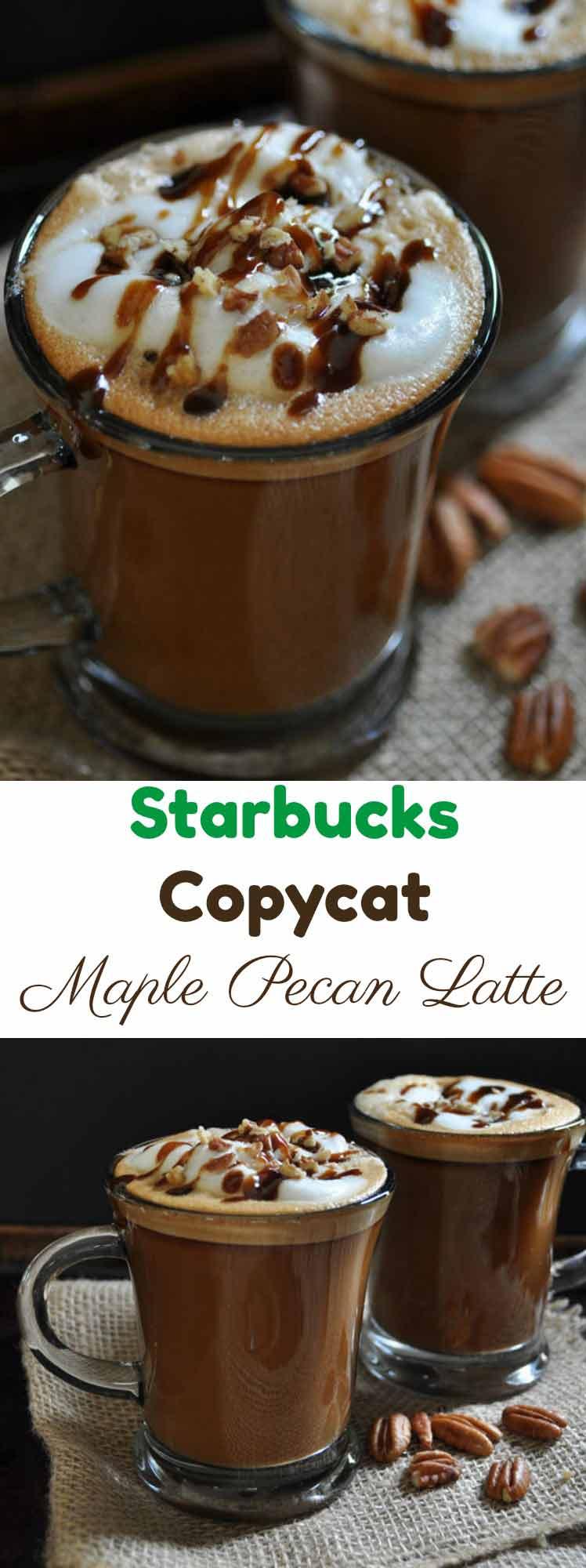 Starbucks Copycat Maple Pecan Latte made in your kitchen! Pure pecan extract and plant-based milk make it vegan!