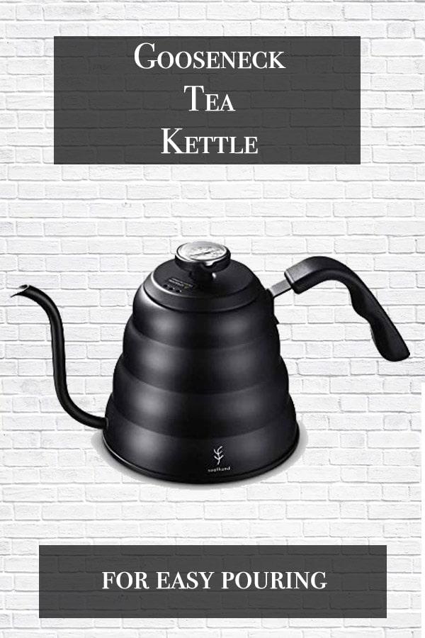 gooseneck tea kettle cover with black tea kettle