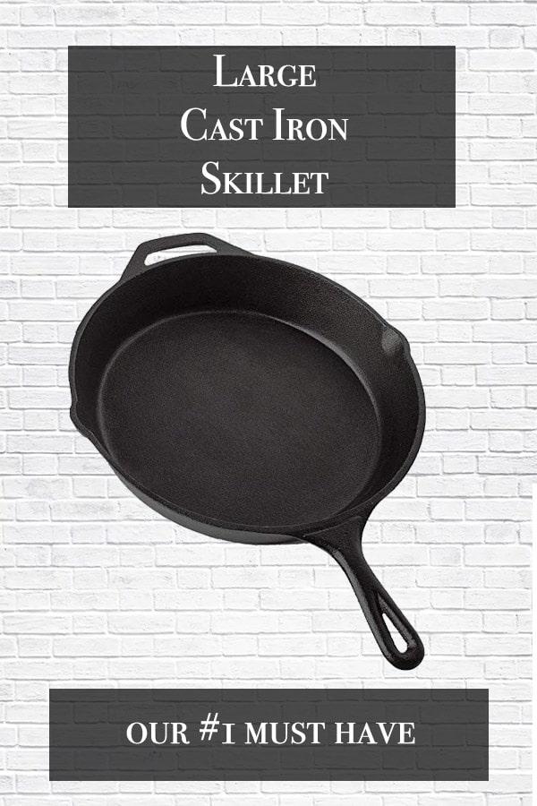 large cast iron skillet in black