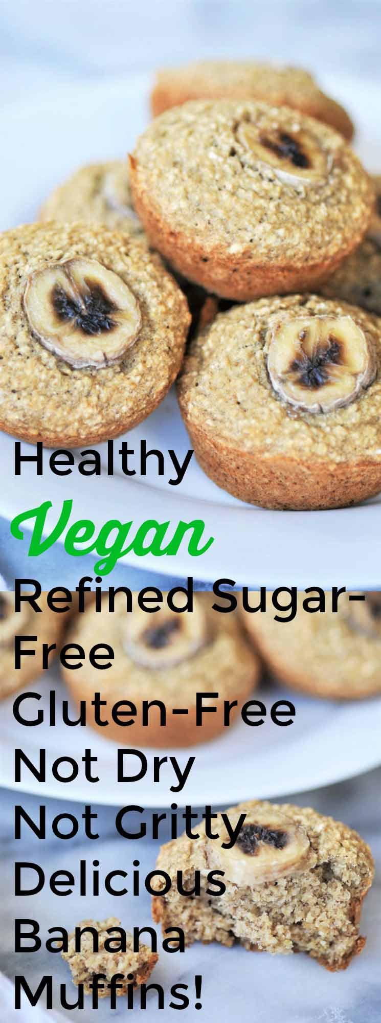 Healthy vegan & gluten-free banana muffins collage for Pinterest.