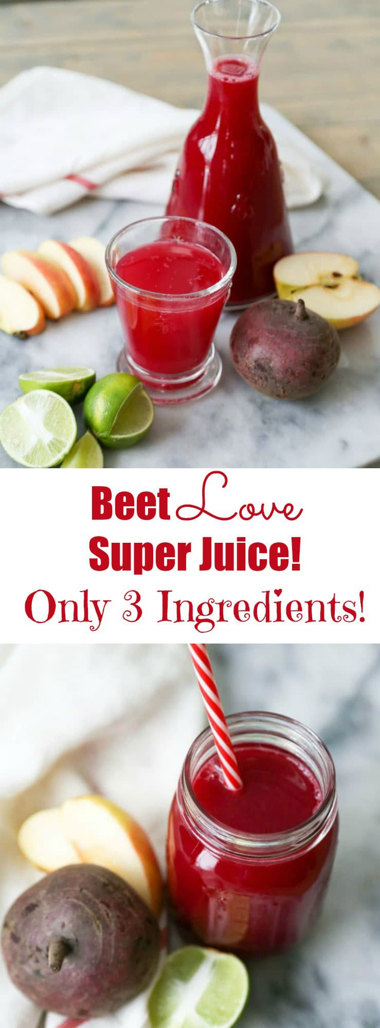 Beet Super Juice! Made with 3 simple whole food ingredients. It's fresh, tangy, sweet, and so delicious! Make if for breakfast or for any time you need a refreshing pick me up.