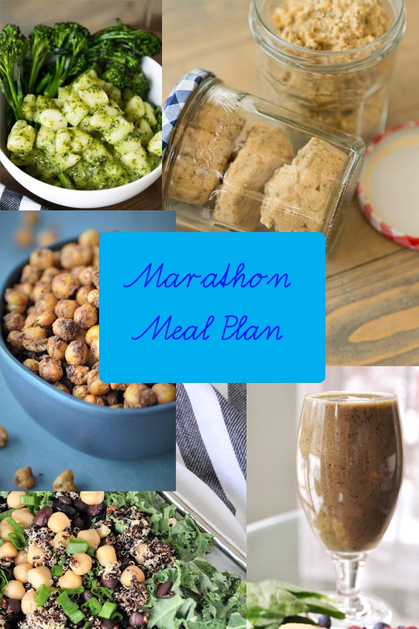 Marathon Meal Plan photo with chickpeas, gnocchi, smoothie, oat bites, and a salad