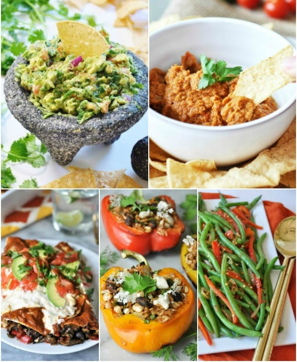 A Father's Day recipe collage with guacamole, spicy hummus, enchiladas, stuffed peppers and spicy green beans