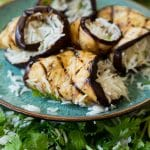 Teriyaki Eggplant Rice Roll Ups