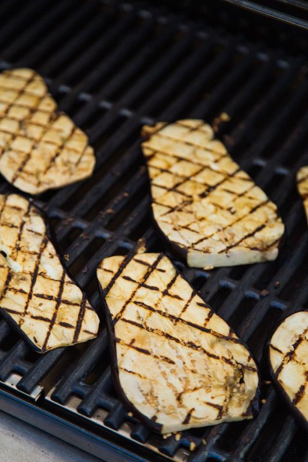 teriyaki Eggplant on a grill