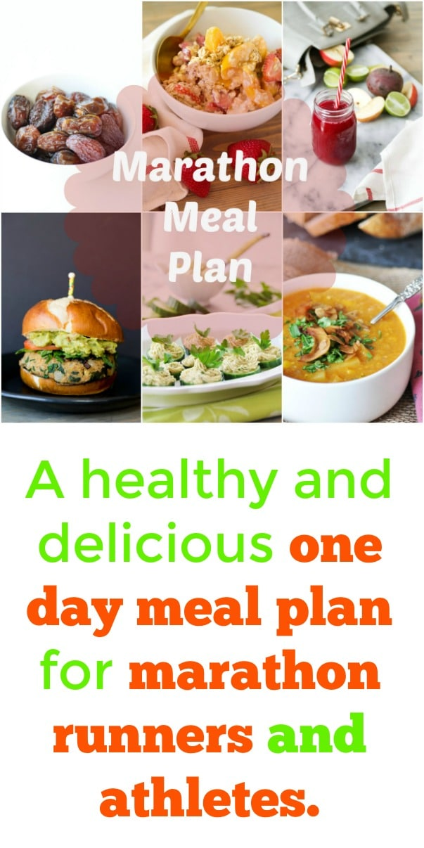 A one day plant-based meal plan for marathon runners and athletes! Everything from breakfast to lunch. #mealplan #vegan #marathon #athletes