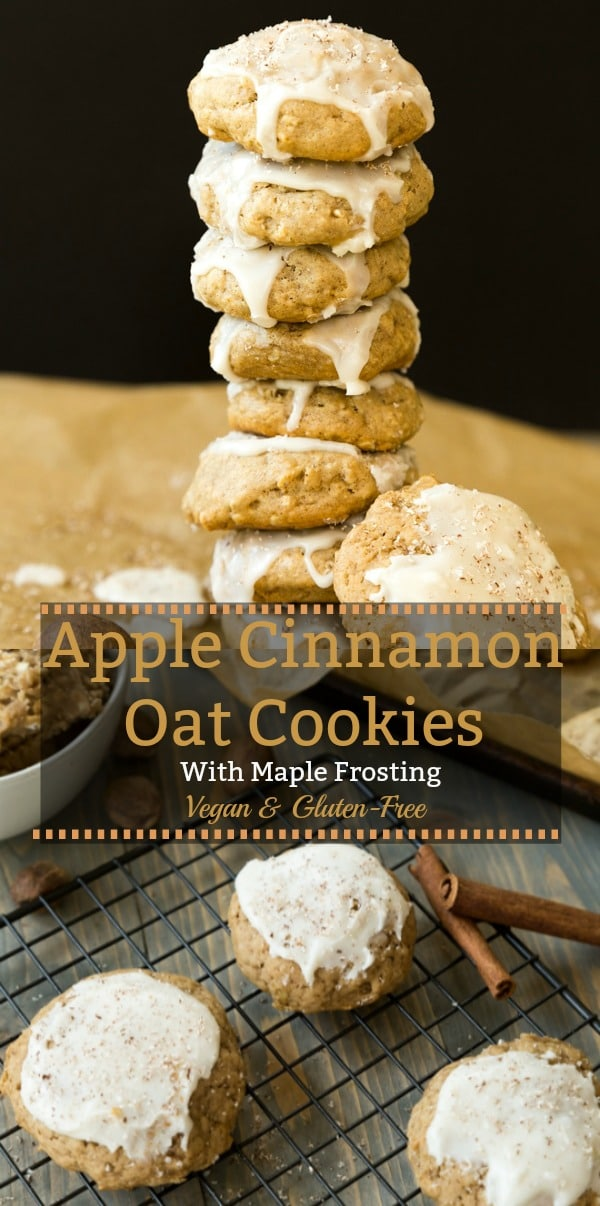 Gluten-free and vegan apple cinnamon oatmeal cookies with maple frosting are so easy to make and delicious! #vegan #cookie #gluten-free #apple
