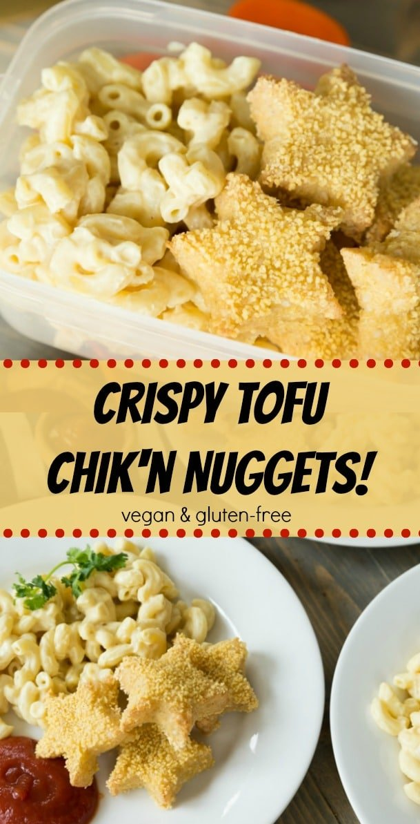Star shaped tofu chicken nuggets! They're crispy, easy, and perfect for school lunches. #vegan #gluten-free #nuggets