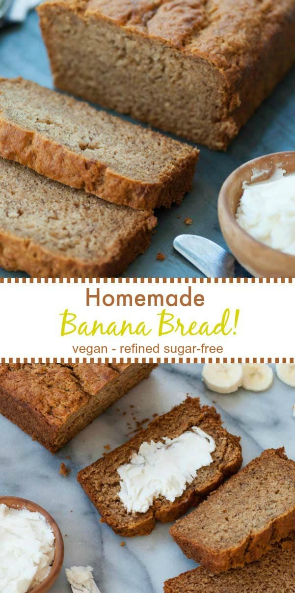 This tender and perfect vegan banana bread is refined sugar-free! It's just like my mom's bread, only healthier! #vegan #healthybananabread #refinedsugarfree #bananabread