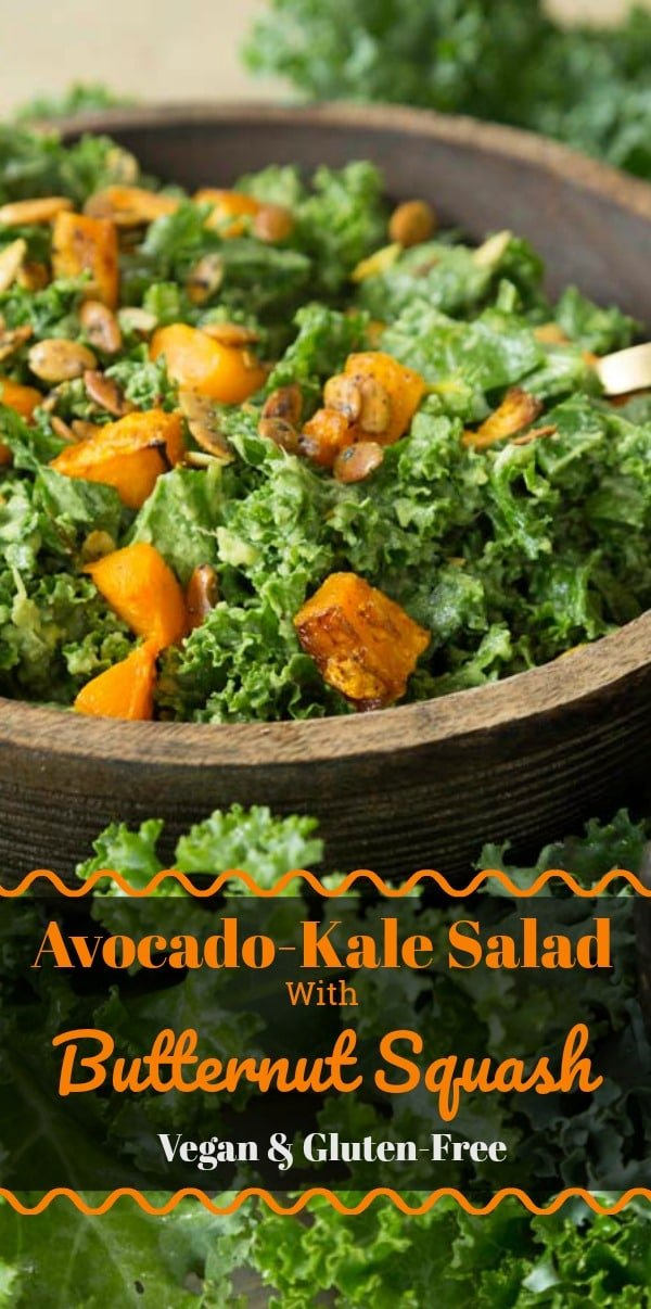 This healthy salad is made with roasted squash, kale, avocado and spicy pepitas. Perfect for all seasons. #vegan #salad #healthy