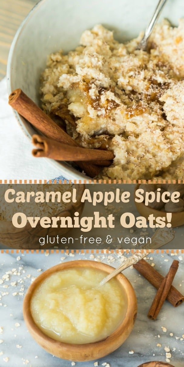 Homemade date caramel, applesauce, warm fall spices, and oats make the most delicious seasonal overnight oats.! Quick and easy! #vegan #breakfast #oats