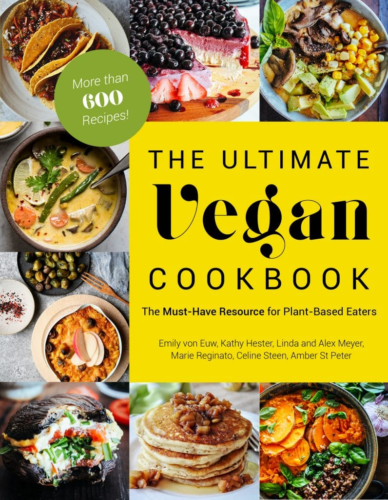 The cover of The Ultimate Vegan Cookbook with pictures of 8 vegan recipes lining three sides of the book and a yellow square on the right center with the title.