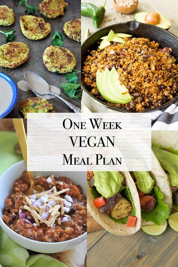 one week vegan meal plan with vegan taco filling, falafel, vegan chile con carne, and vegan tacos