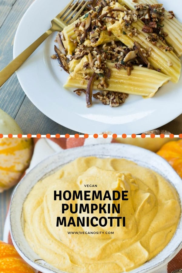 Homemade Pumpkin Manicotti with a brown butter sauce with shiitake mushrooms, nuts, and fresh herbs! Easy and delicious! #vegan #pasta #pumpkin