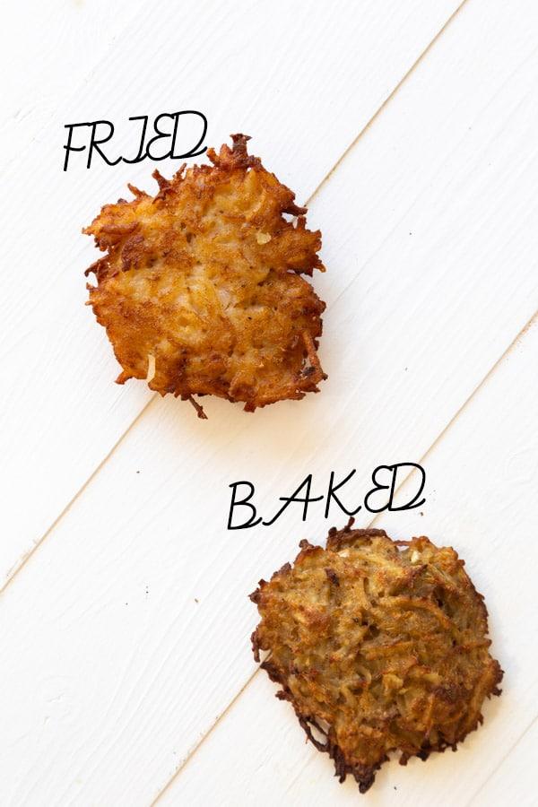spiced potato pancakes baked vs fried