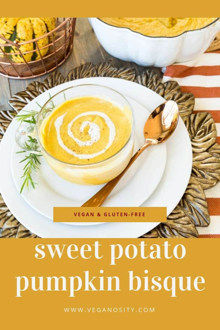 Easy homemade Sweet Potato and Pumpkin Bisque! Perfect for fall weather! #vegan #soup #sweetpotato
