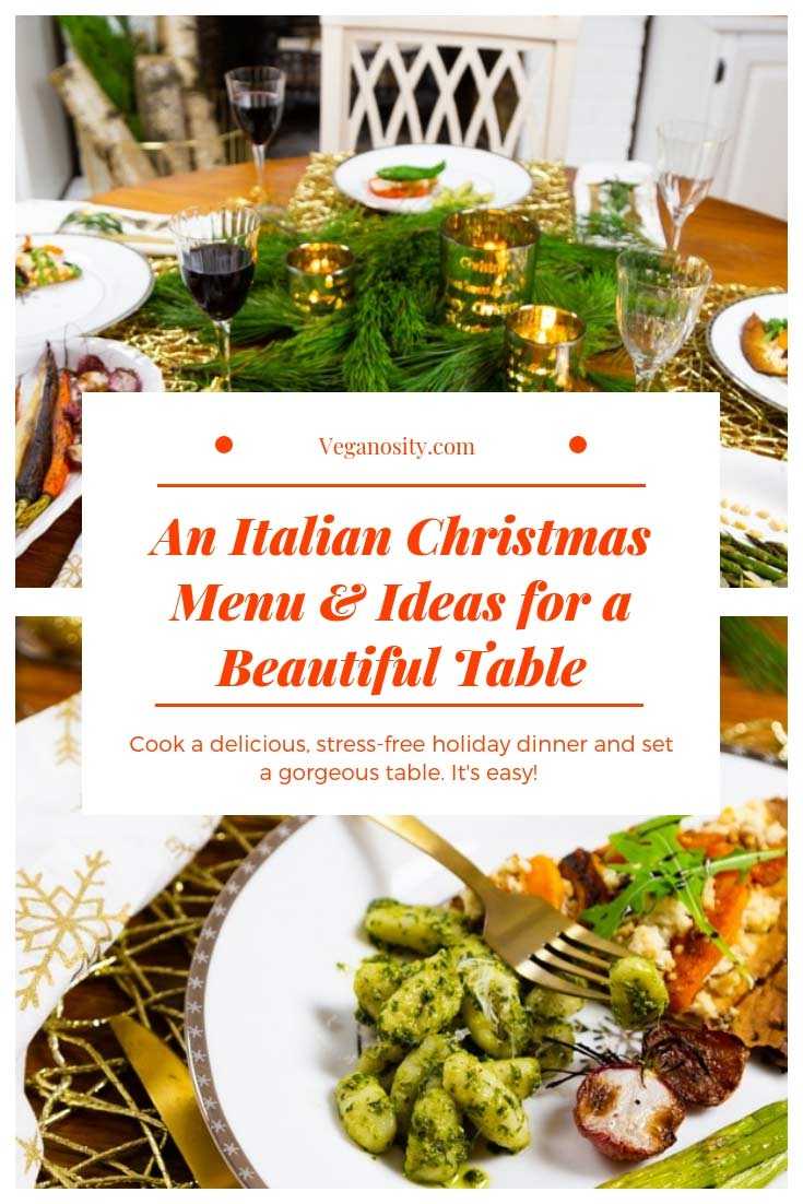 Make a stress-free and delicious Italian dinner for the holidays and set a gorgeous table, too! #holdiaydinner #Italianfood #tablesetting