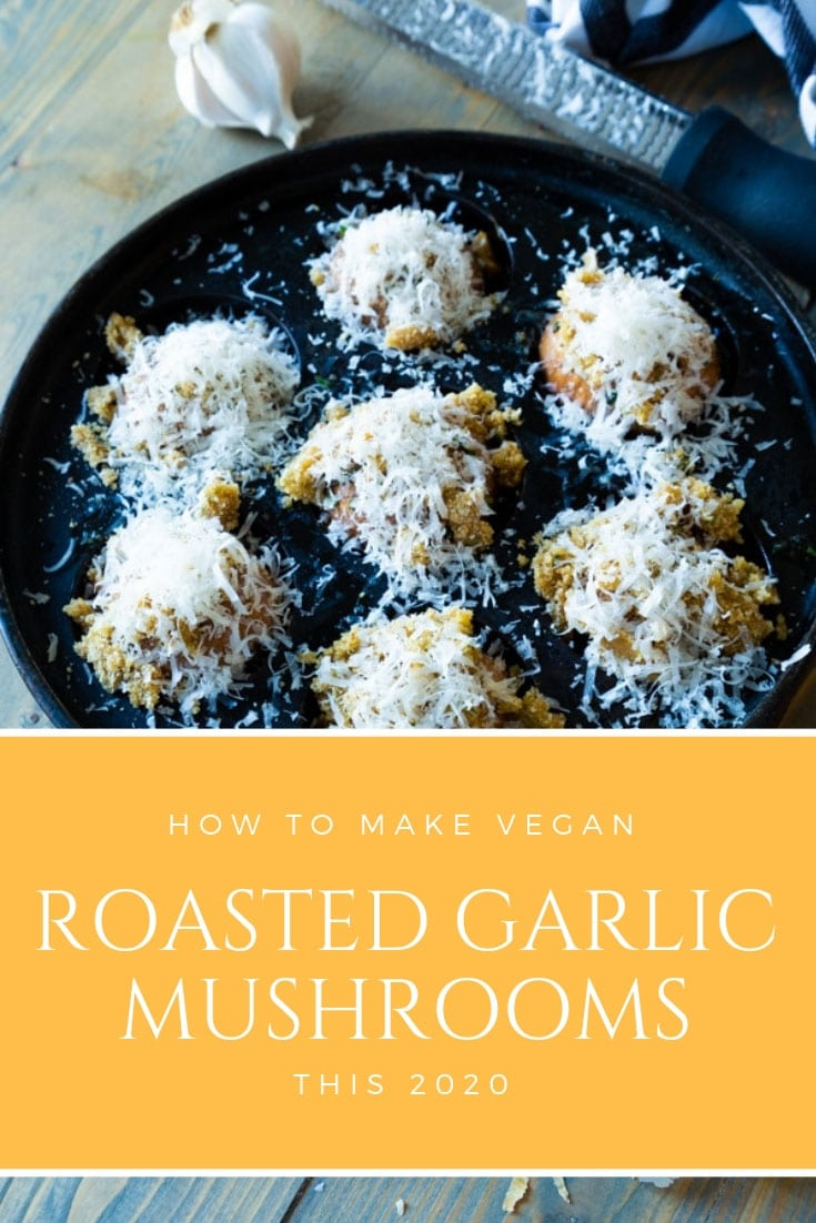 Our delicious Roasted Garlic & Parmesan Mushrooms are the vegan version of escargot! Full of flavor and easy to make! #veganescargot #roastedmushrooms #garlicmushrooms