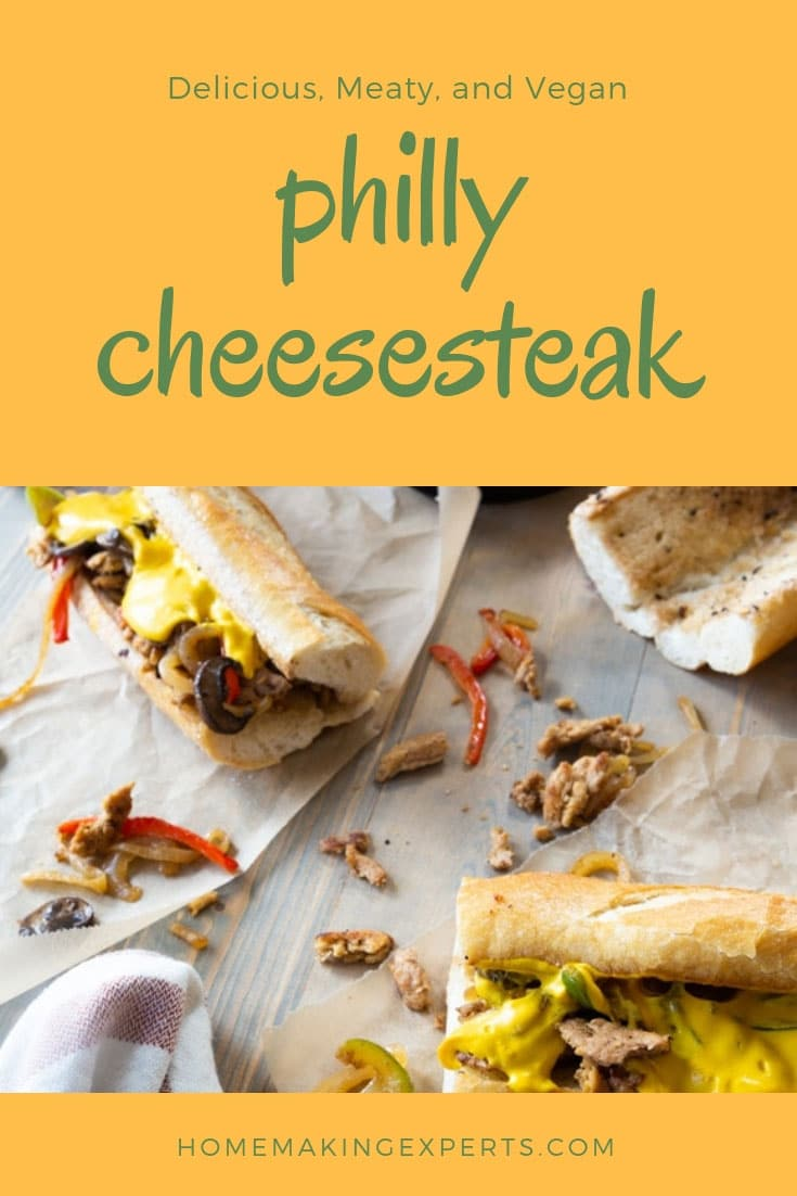 Our vegan Philly Cheesesteak is so meaty and delicious. Perfect for game day! #veganphillycheesesteak #sandwich #gamedayfood