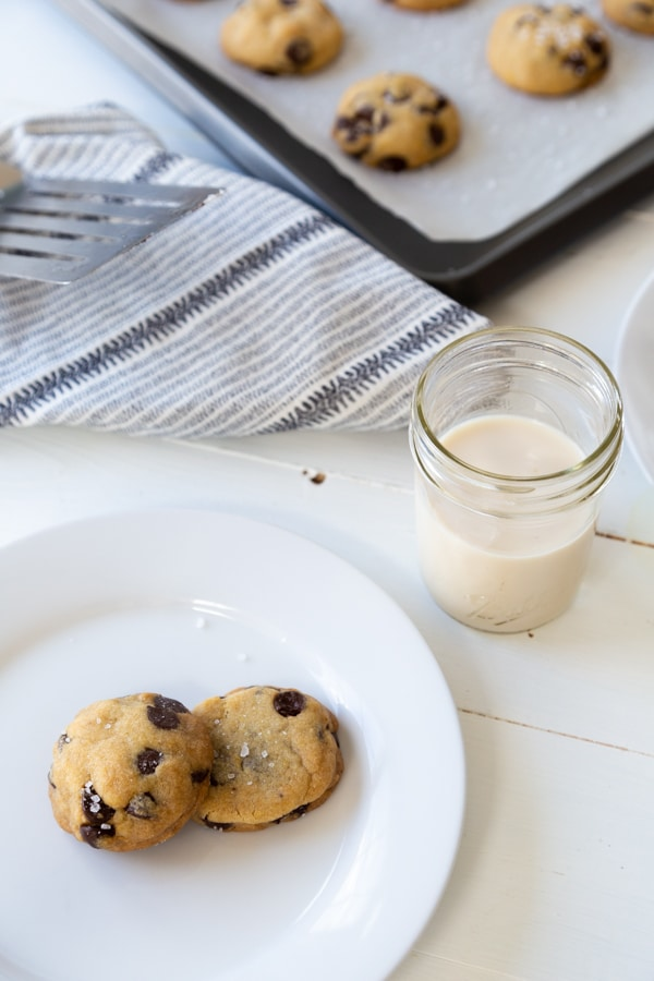 A plate of chocolate chip cookies and a baking sheet with more cookies in the background.