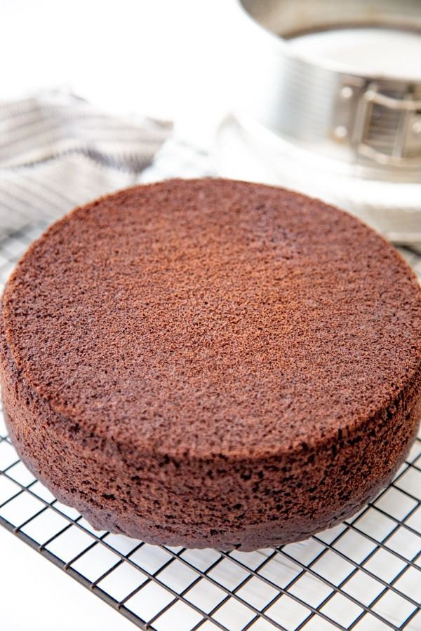 A chocolate cake cooling on a wire rack.