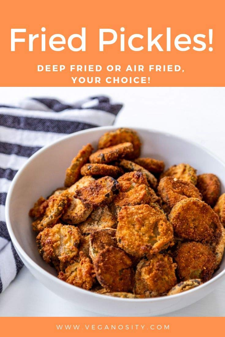 A PInterest pin for fried pickles with an orange background and a white bowl of fried pickles.