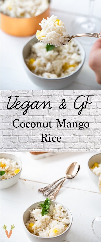 A Pinterest pin with coconut mango rice in a bowl and a forkful of rice on the top picture.