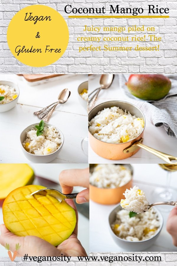 A Pinterest pin for coconut mango rice with photos of the rice in bowls and a copper pot.