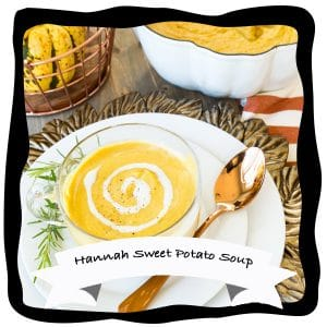 hannah sweet potato soup vegan recipe videos with cashew cream in clear bowls on white plates