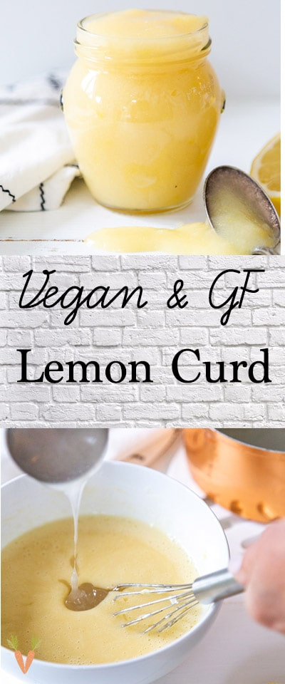 A PInterest pin for lemon curd with two pictures of the curd in a jar.