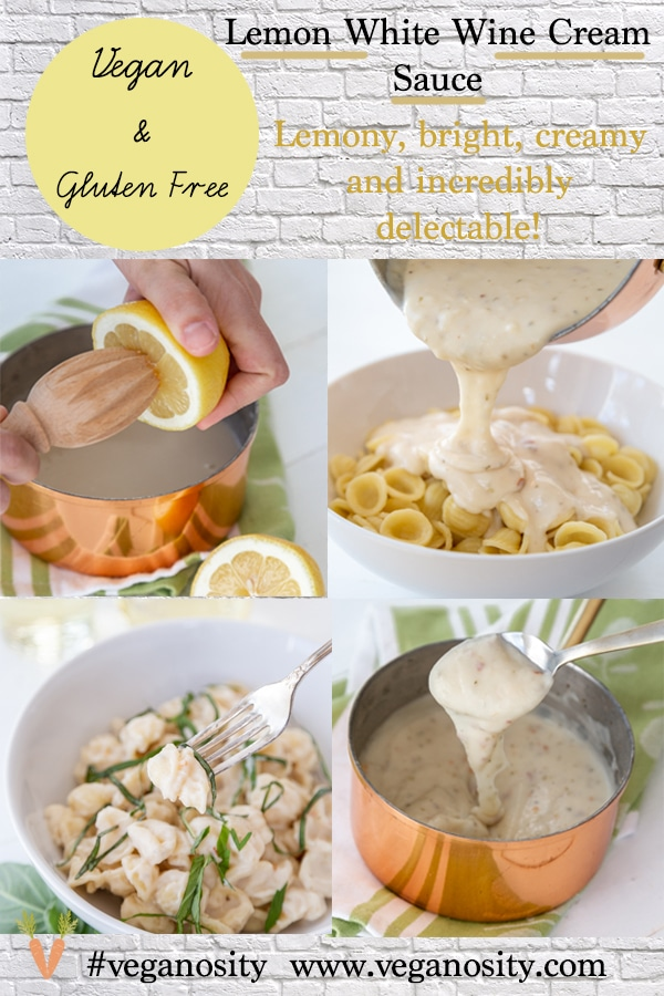 A Pinterest pin for lemon cream sauce with four pictures of the sauce.