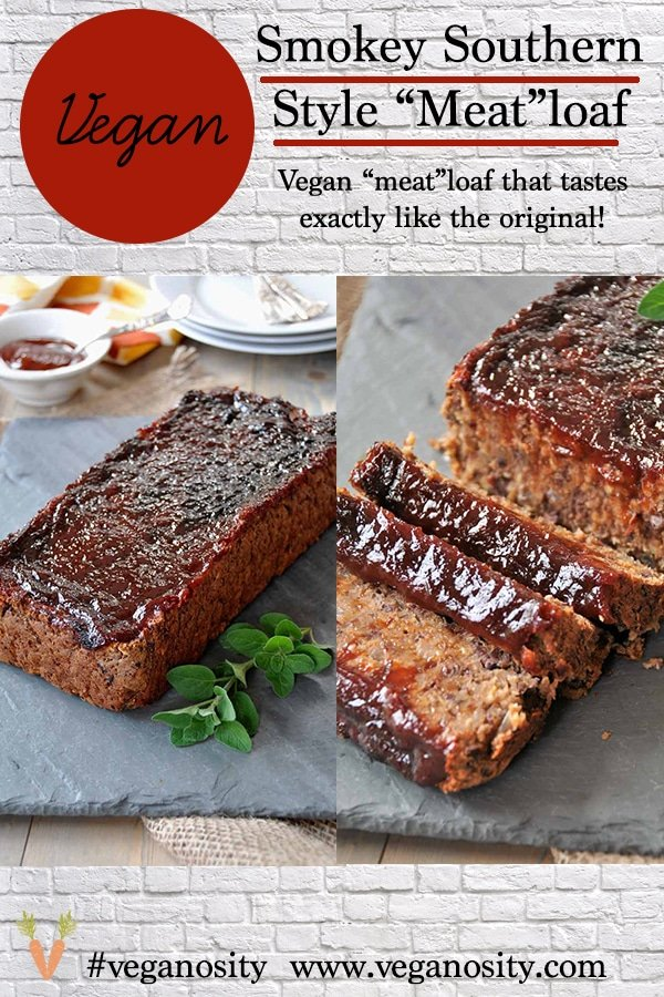 A PInterest pin for vegan meatloaf with a picture of it whole and sliced.