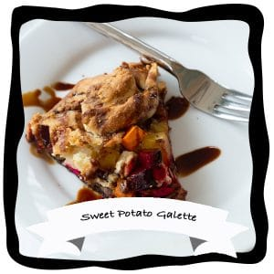 sweet potato and beet galette on white plate with balsamic glaze