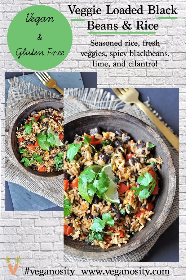 A Pinterest pin with a far and close up picture of veggie rice & beans.