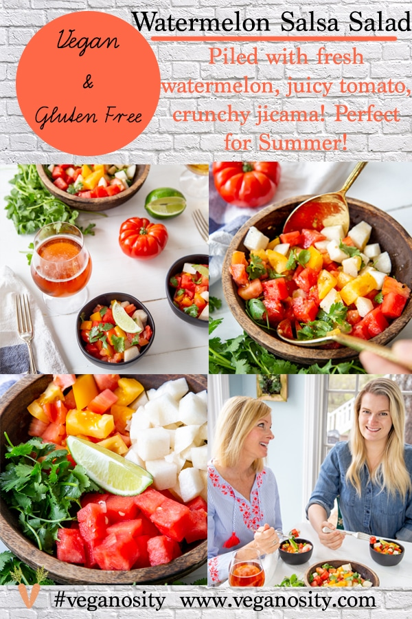 A Pinterest pin for watermelon and tomato salad with four pictures of the salad.