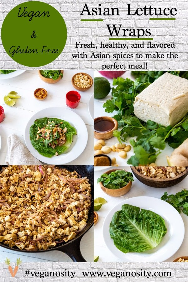A PInterest pin for Asian Lettuce Wraps with pictures of the wraps and ingredients.