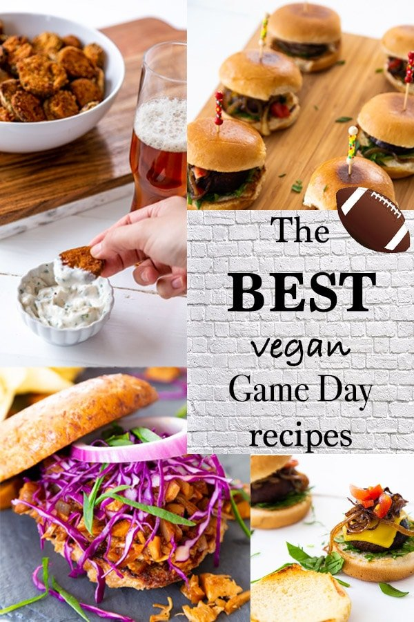A Pinterest pin for the best vegan tailgate recipes with pictures of BBQ and burgers.