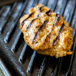 Grilled seitan chicken on a grill pan.