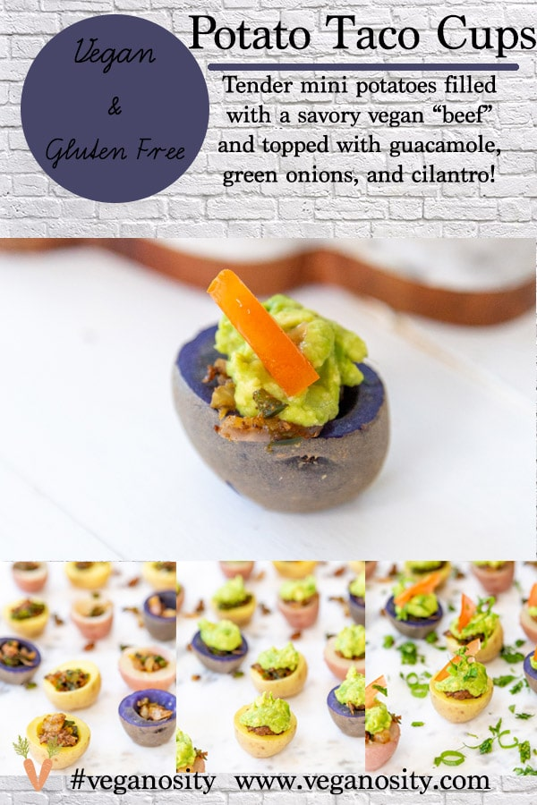 A PInterest pin for vegan potato taco cups with two pictures of the recipe.