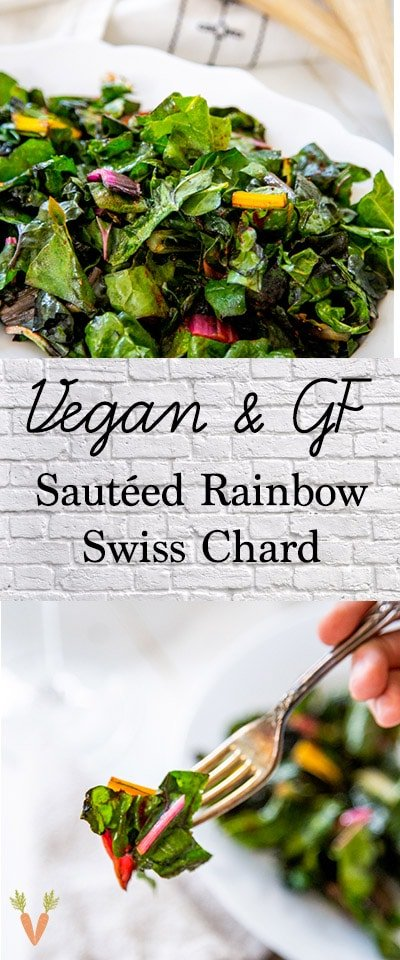 A Pinterest pin for sauteed chard with two pictures of the chard.