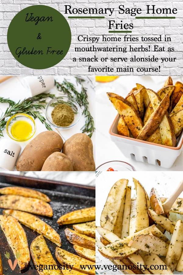 A Pinterest pin for Home Fries with four pictures of the fries.