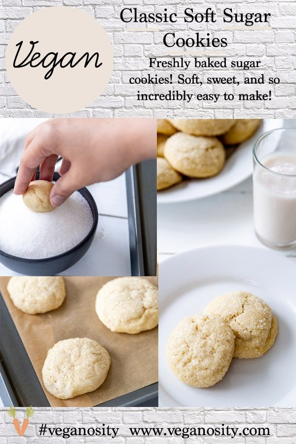 A Pinterest pin for vegan sugar cookies with two pictures of the cookies.