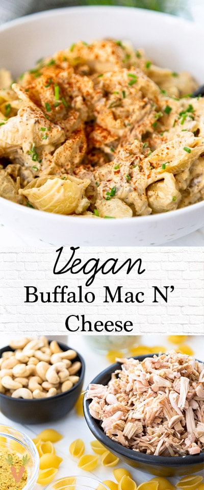 A PInterest pin for vegan buffalo mac and cheese with two pictures of the recipe.