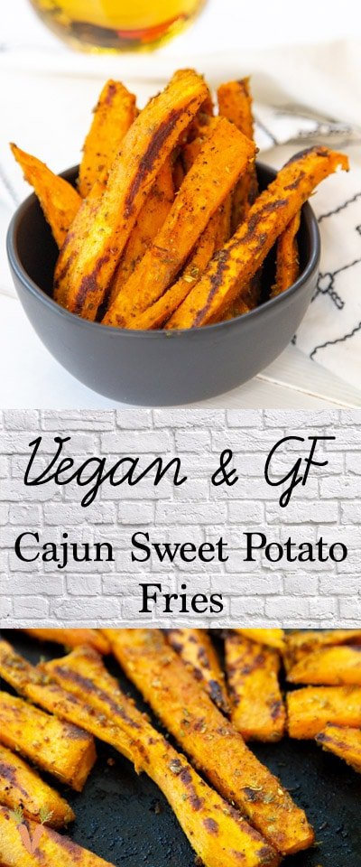 A Pinterest pin for Cajun sweet potato fries with two pictures of the fries.
