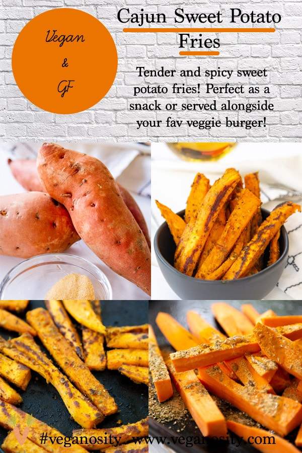 A Pinterest pin for homemade spicy sweet potato fries with four pictures of the fries.