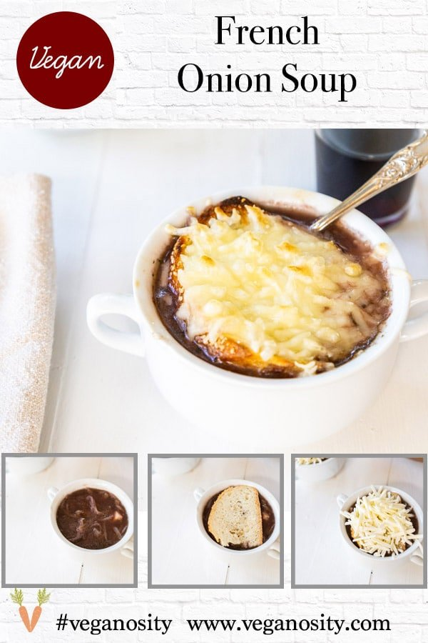 A Pinterest pin for vegan French onion soup with 4 pictures of the soup.